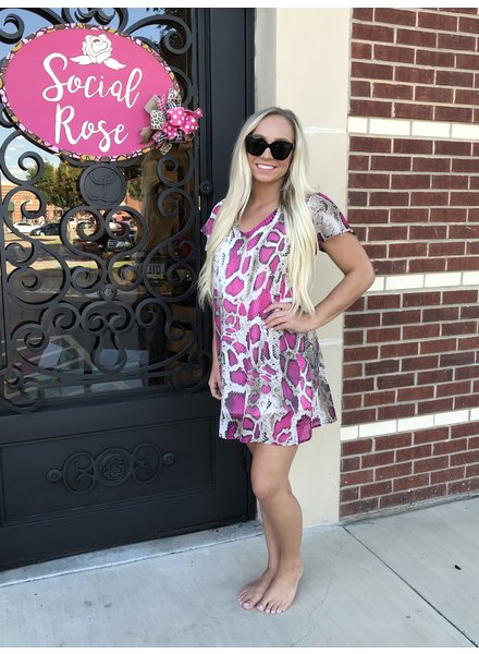 Peach Love Peach Love Snakeskin Dress Fuchsia