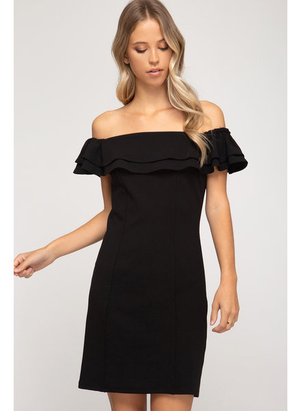 She & Sky She & Sky Off The Shoulder Black Dress