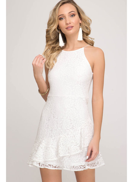 She & Sky She & Sky Cami Lace Dress White