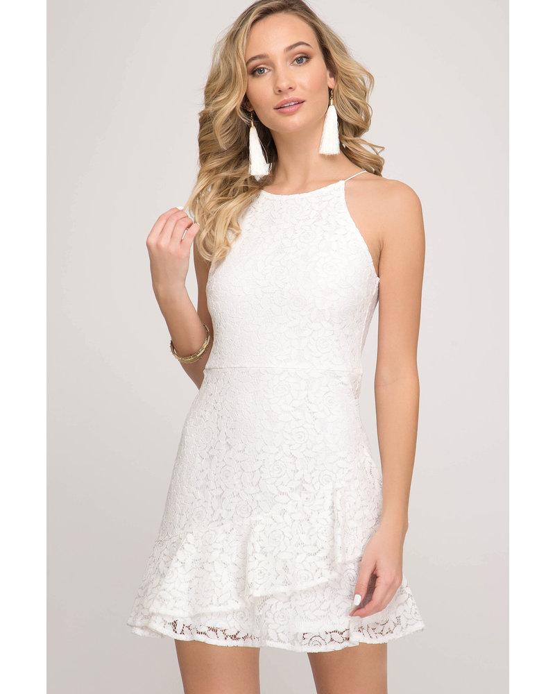 She & Sky She & Sky Cami Lace Dress White