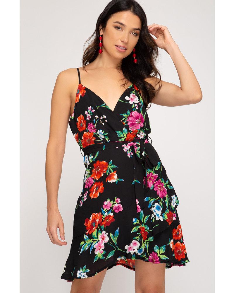She & Sky She & Sky Cami Printed Dress Black
