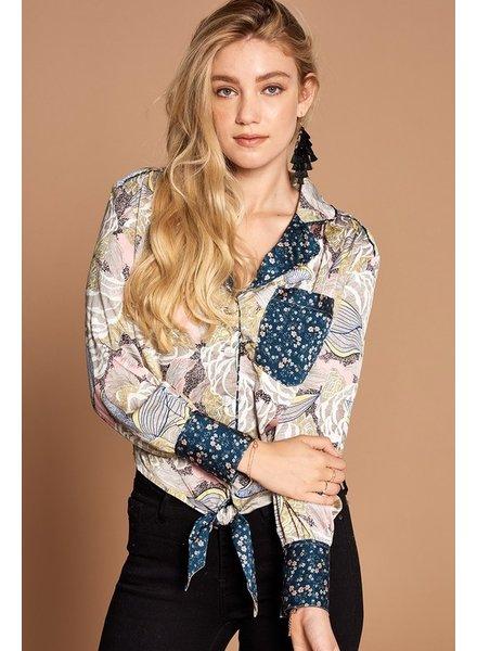 Oddi Oddi Floral Button Down Contrast Pocket Top