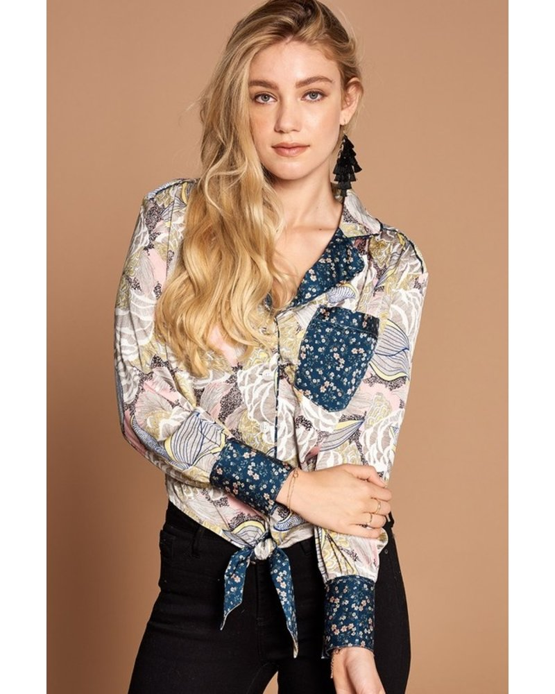 Oddi Oddi Floral Button Down Contrast Pocket Top
