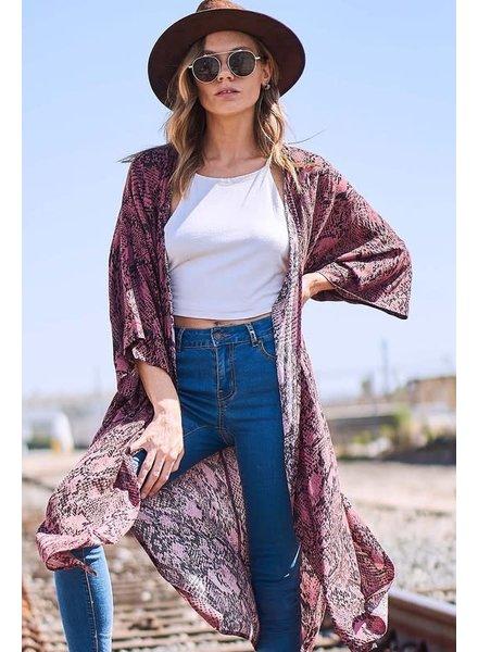 Fantastic Fawn Snakeskin Kimono Mauve