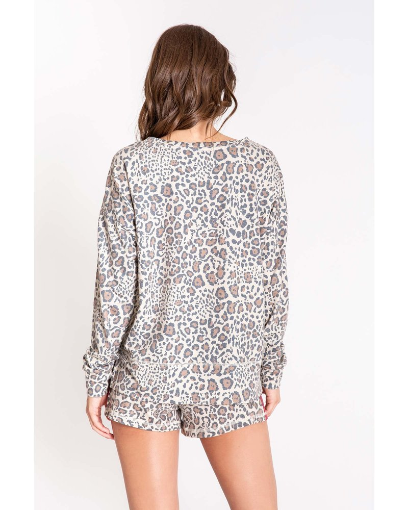 PJ Salvage PJ Salvage Wild Heart Leopard Sweatshirt