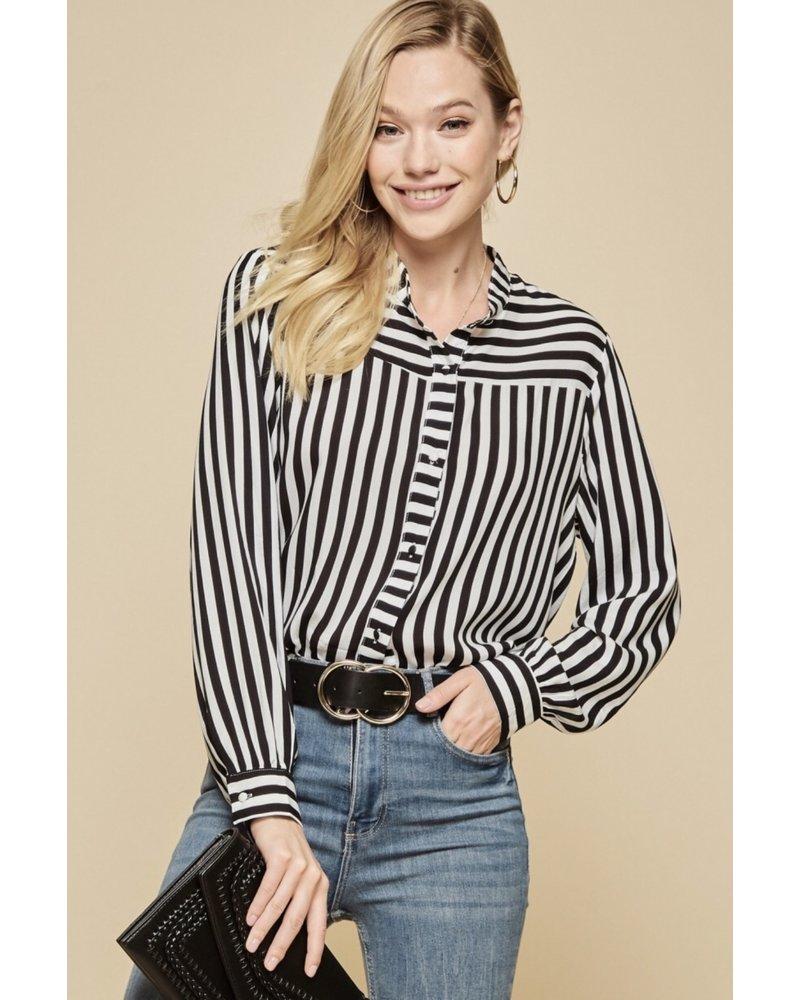Wendy WEN Black/White Stripe Top