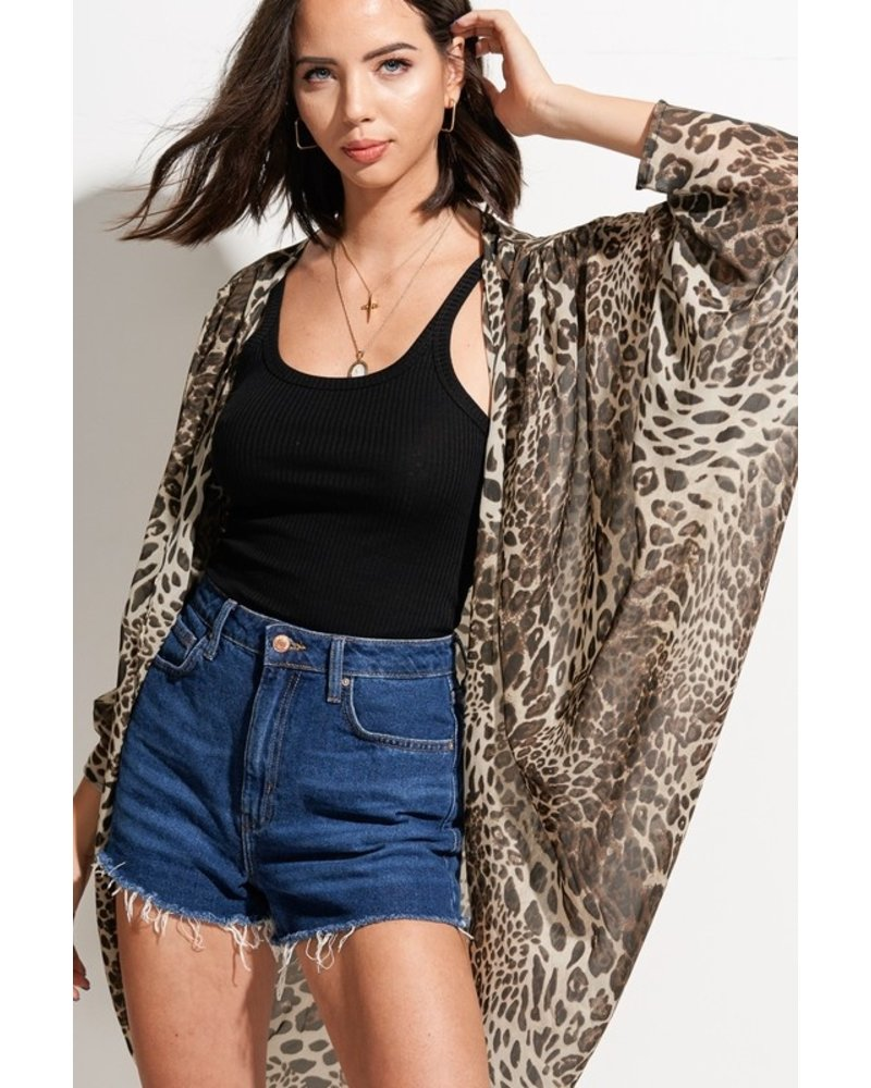 Hyped Unicorn Hyped Animal Printed Cardigan Leopard Taupe