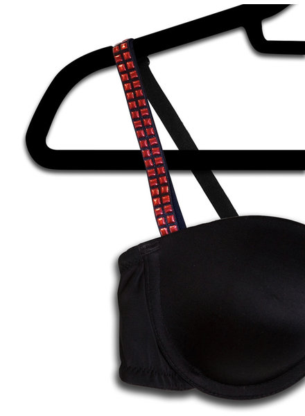 Strap Its Strap It Bra Black Red Studs