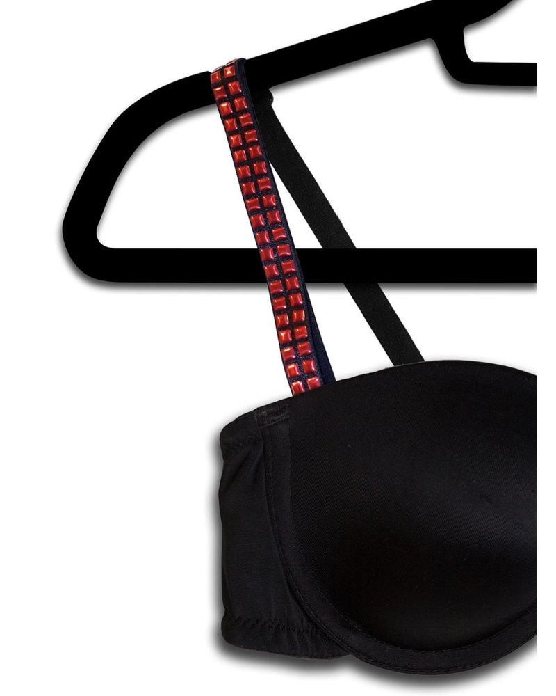 Strap Its Strap It Bra Black Red Studs