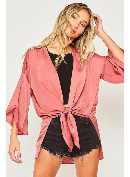 Peach Love Peach Love Tie Crop Kimono