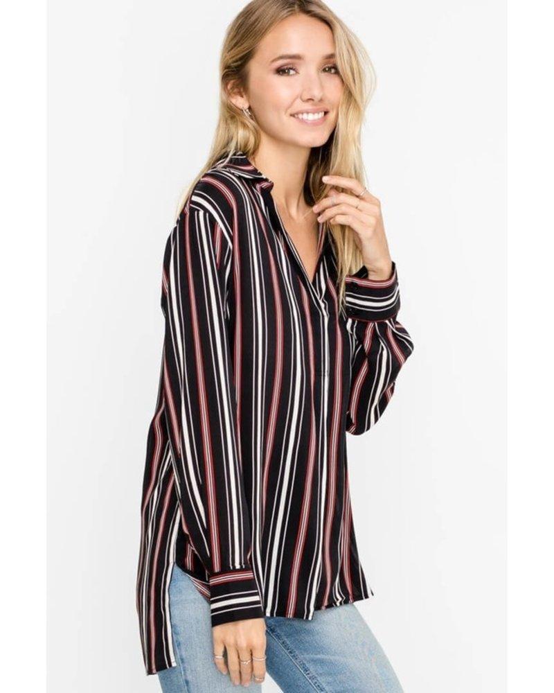 Lush LUSH Black Red Striped Tunic Top
