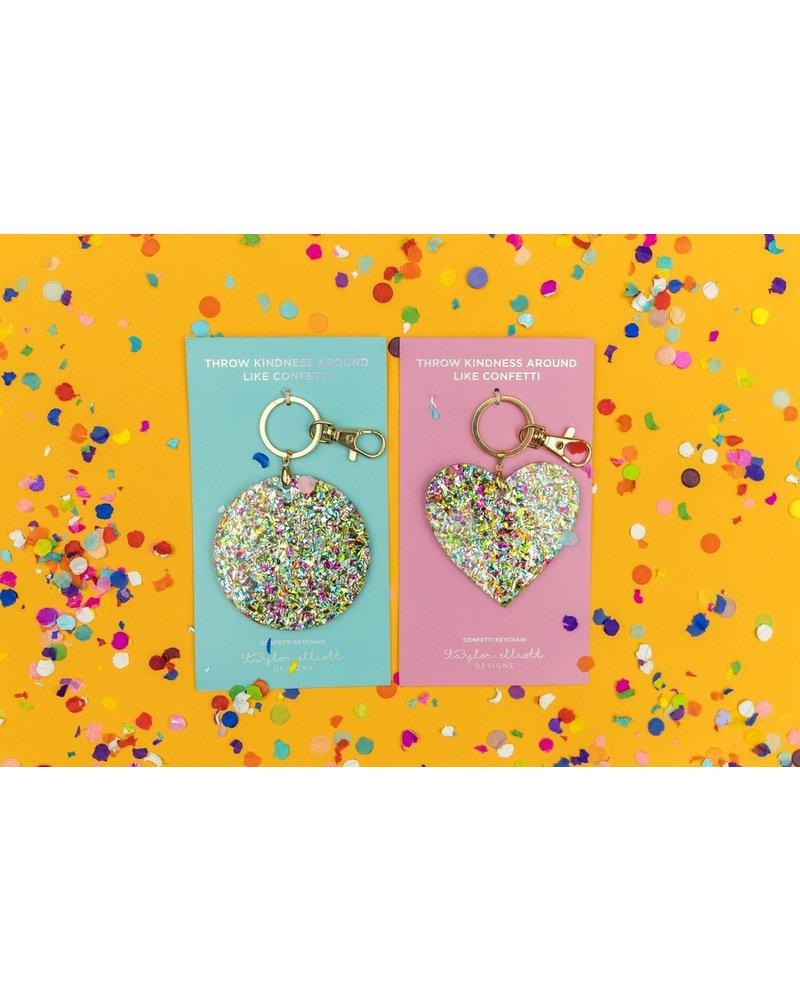 Taylor Elliott Taylor Confetti Keychain Heart or Circle