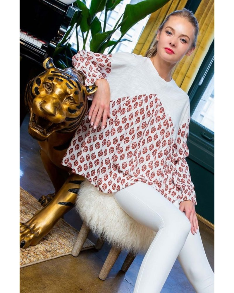 THML THML Drop Shoulder Printed Top Red
