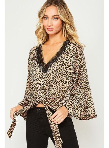 Peach Love Peach Love Leopard Tie Top