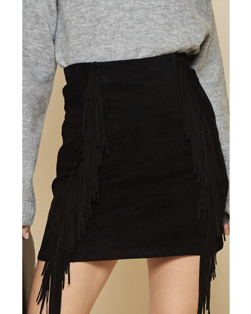 Wendy WEN Black Fringe Skirt
