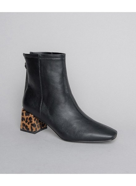 Let's See Style Leopard Heel Booties Black