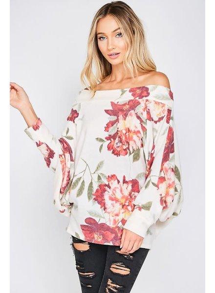 Vine & Love Vine Off Shoulder Floral Cream Top