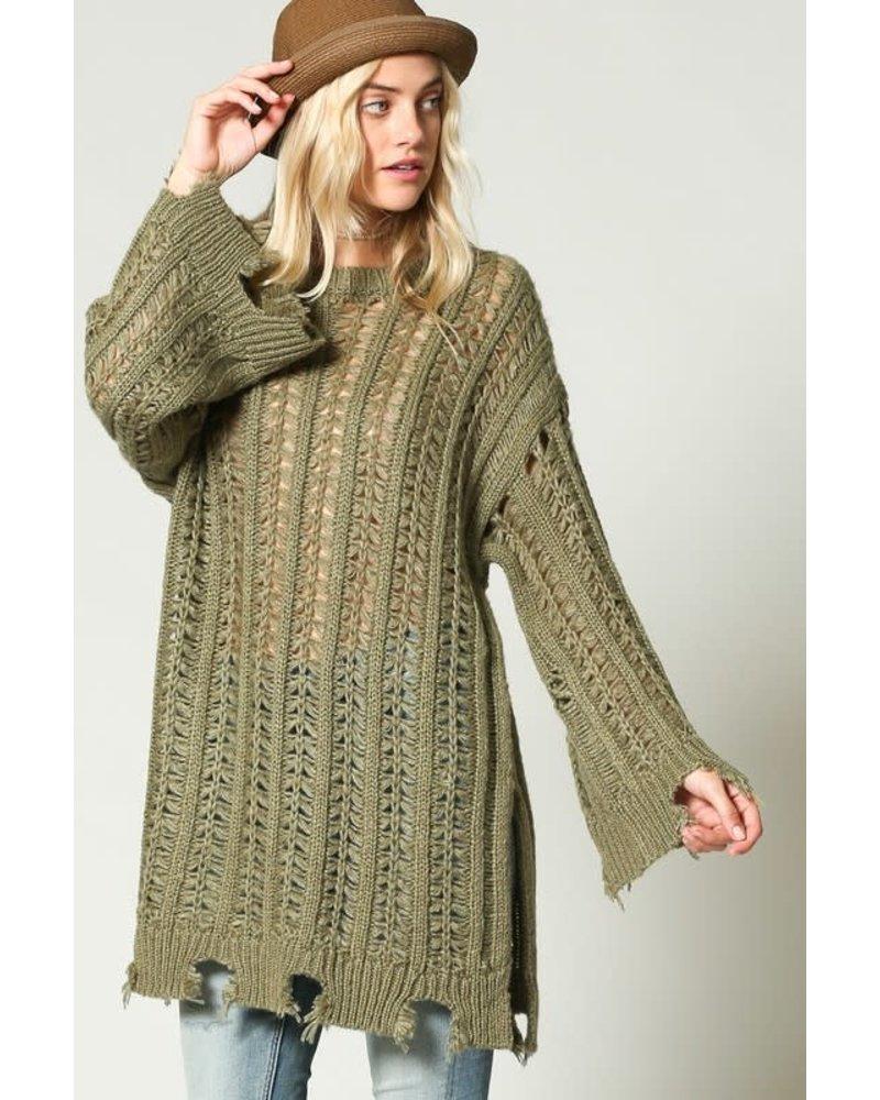Kyemi Kyemi Destroyed Olive Long Sweater