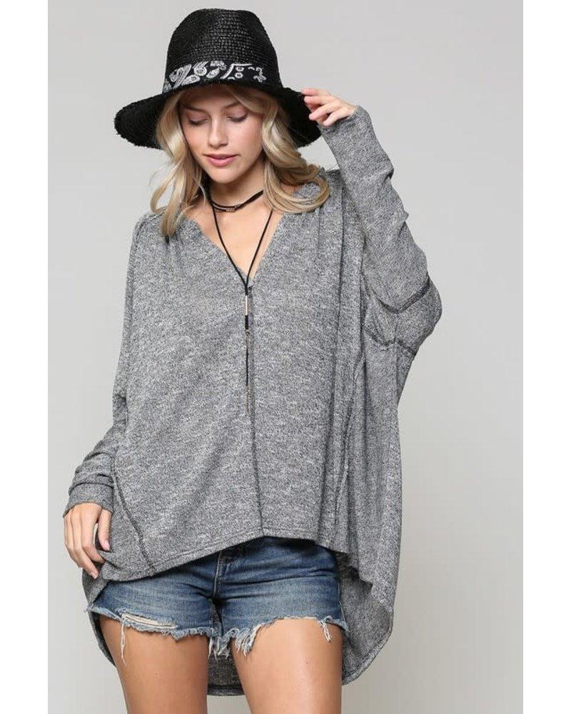 Kyemi Kyemi Charcoal Hi Lo Sweater Top
