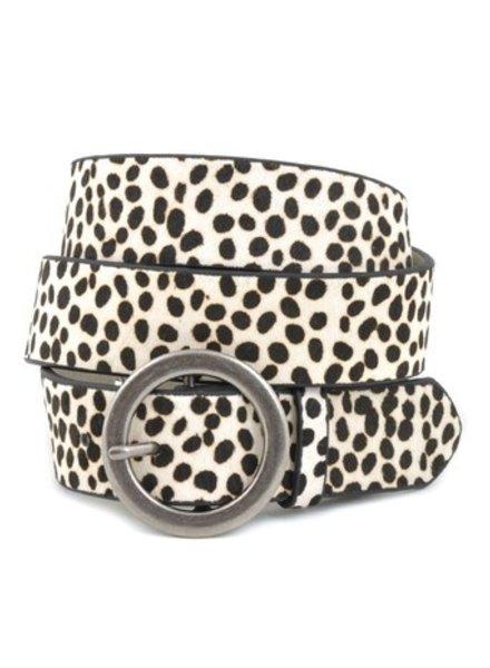 Anzell Cheetah White Belt Silver Buckle