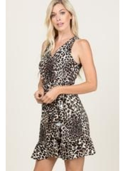 Young at Heart Young at Heart Dainty Sleeveless Leopard Wrap Dress