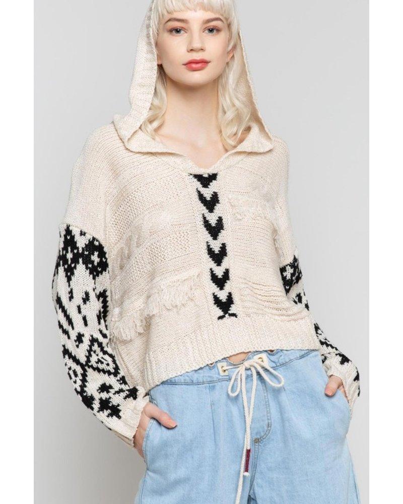 POL POL Boho Fringe Sweater Beige/Black