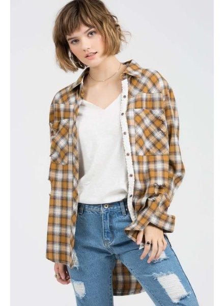 POL POL Plaid Button Down Distressed Long Shirt