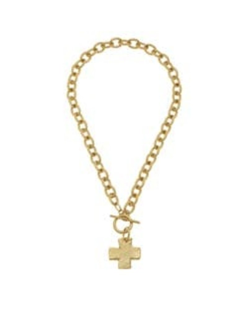 Susan Shaw Susan Shaw Cross Toggle Necklace Gold