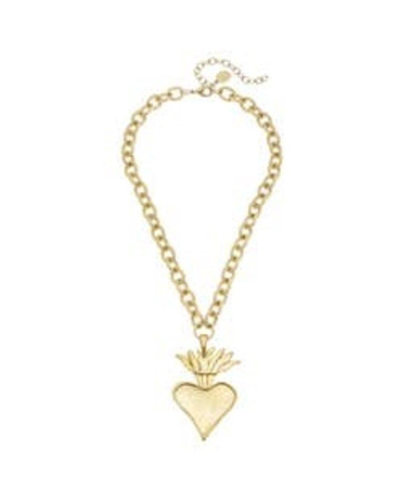 Susan Shaw Susan Shaw Flaming Heart Necklace Gold