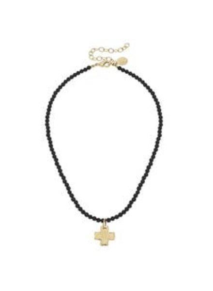 Susan Shaw Susan Shaw Beaded Onyx Necklace Cross