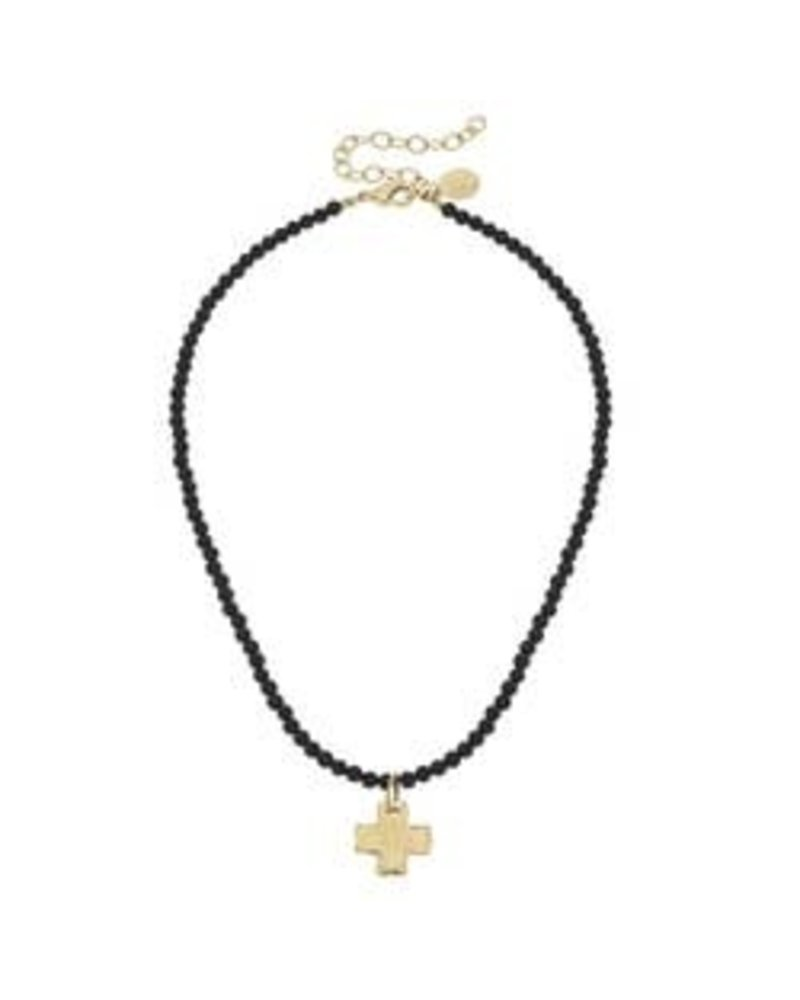 Susan Shaw Susan Shaw Beaded Onyx Necklace Cross