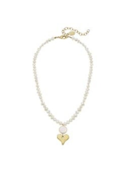 Susan Shaw Susan Shaw Pearl Necklace Heart