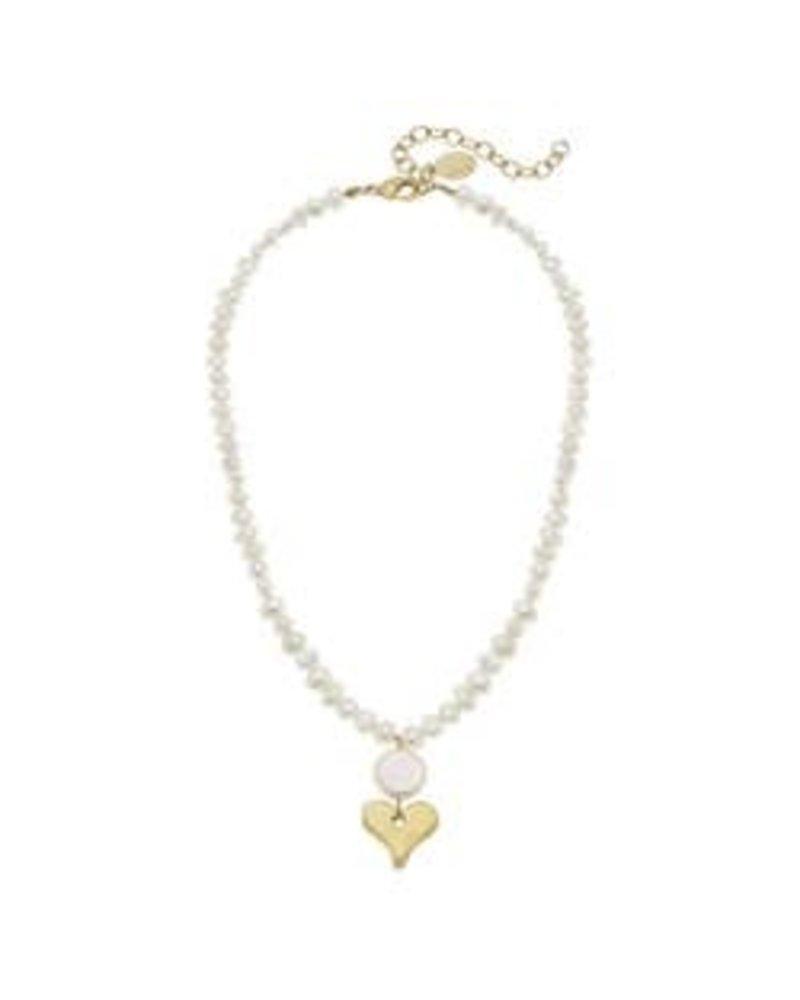 Susan Shaw Susan Shaw Pearl Necklace Heart