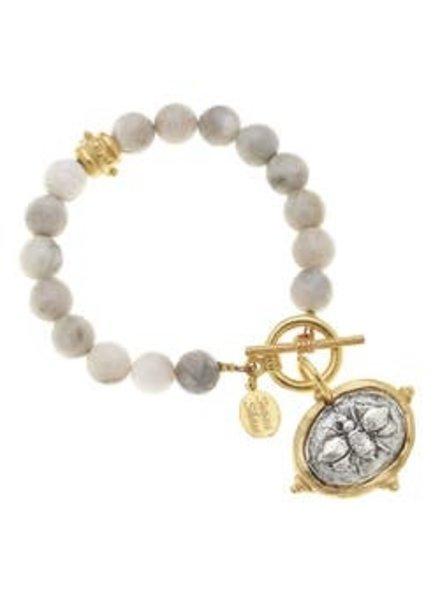 Susan Shaw Susan Shaw Silver Lace Agate Bracelet Bee