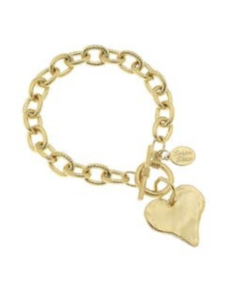 Susan Shaw Susan Shaw Gold Heart Toggle Bracelet