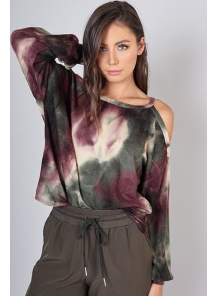 Blue Blush Blue Blush Cold Shoulder Tie Dye Olive Mocha