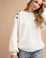 Easel Easel Cream Shoulder Button Sweater