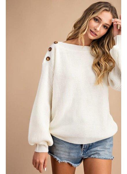 Easel Easel Cream Shoulder Button Sweater
