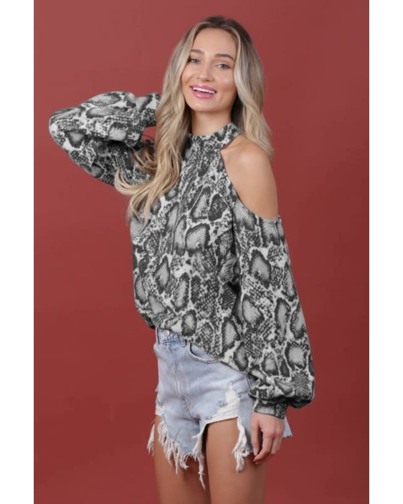 MISC Snakeskin One Shoulder Top