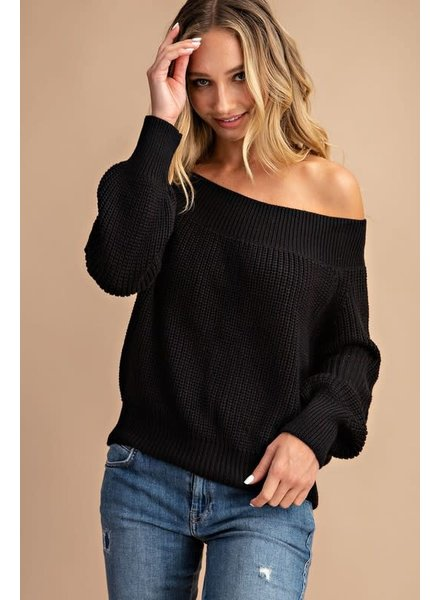EEsome Eesome Black Off Shoulder Sweater