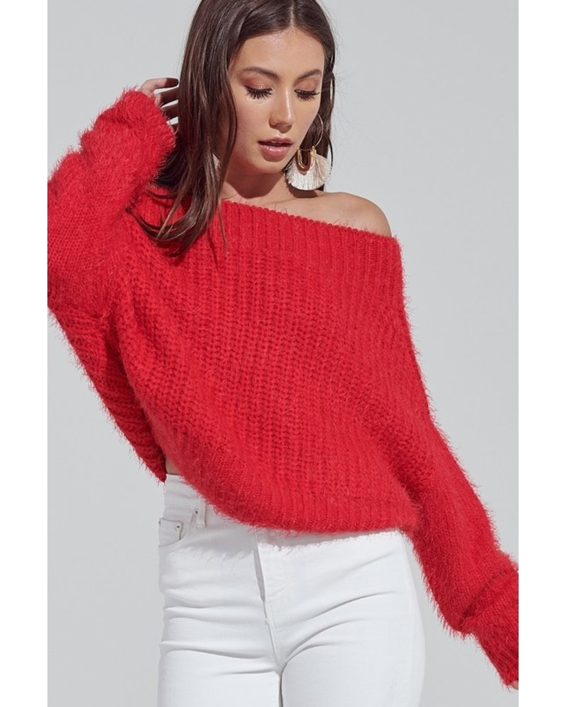 Blue Blush Blue Blush Fuzzy Cherry Red Sweater