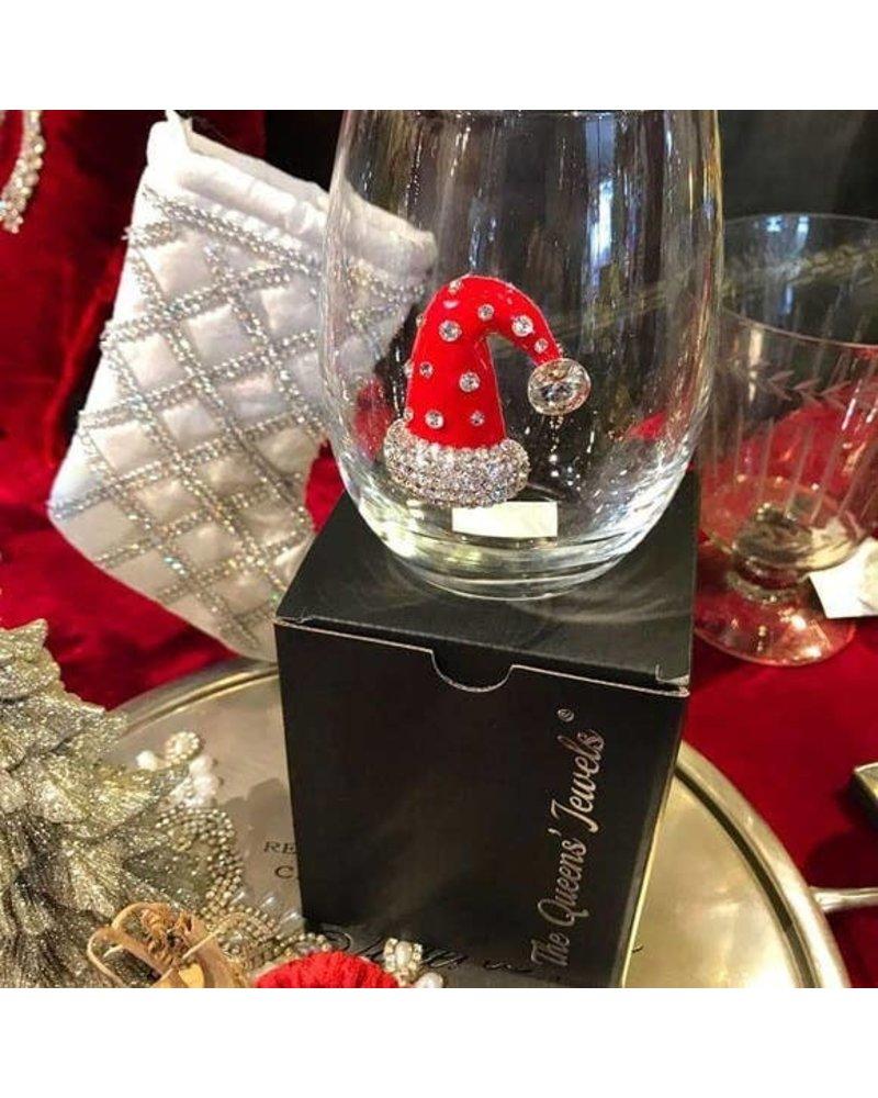 Cork Pops Cork Pops Stemless Glass Santa Hat