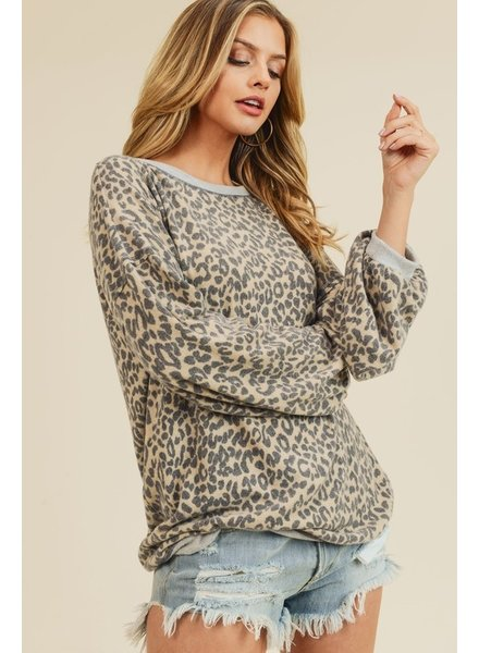 First Love First Love Leopard Brushed Top