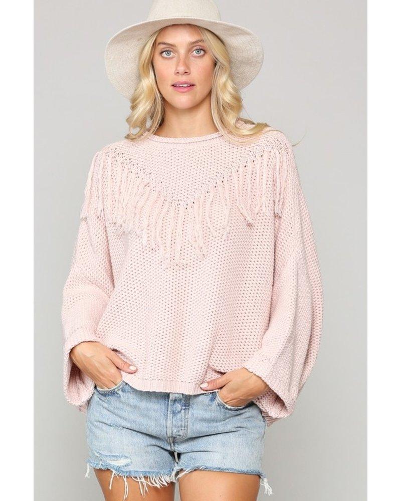 Kyemi Kyemi Fringe Sweater Ballet Pink