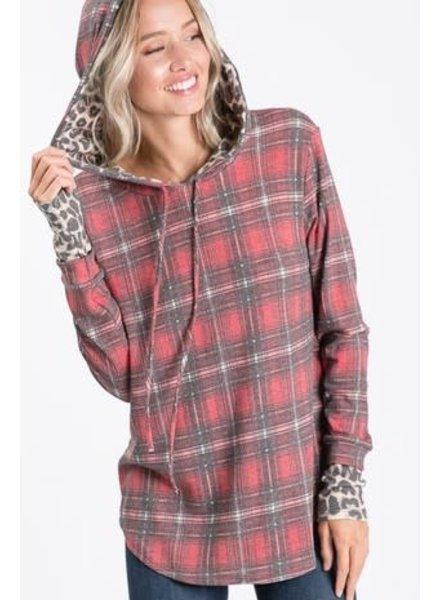 Trend Shop Trend Shop Plaid Hooded Sweatshirt Leopard Accent
