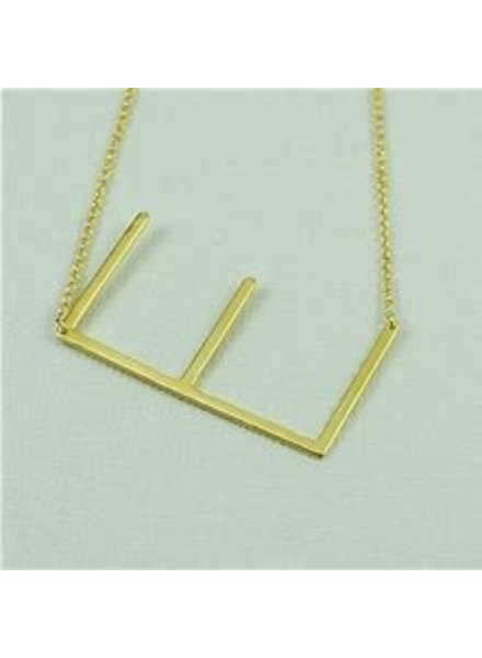 CAI Cai Initial Medium Sideways Necklace Gold