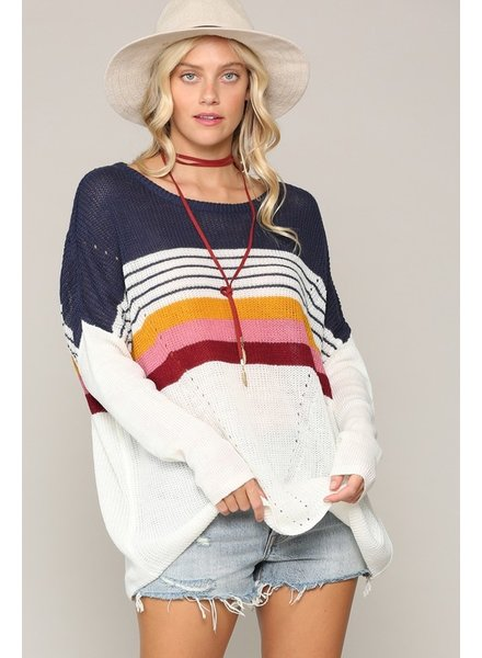 Kyemi Kyemi Navy Multi Stripe Sweater