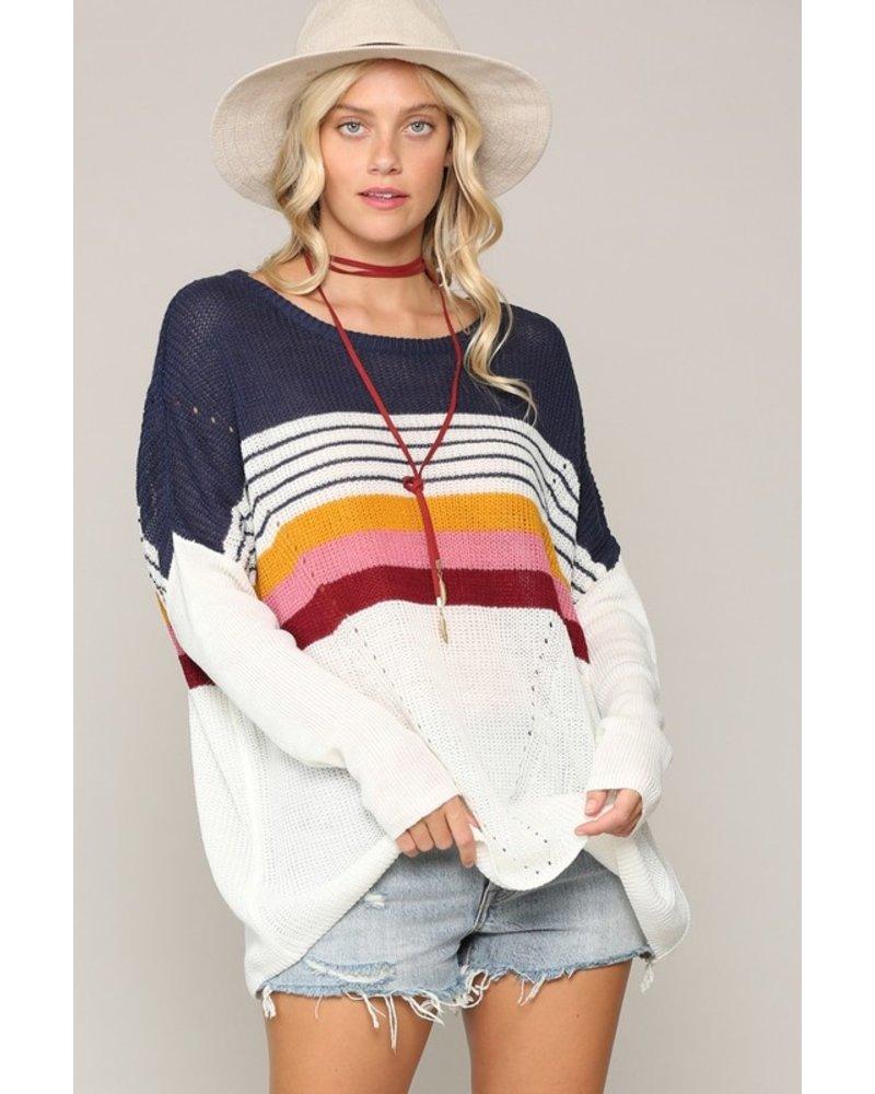 Kyemi Kyemi Navy Multi Stripe Sweater