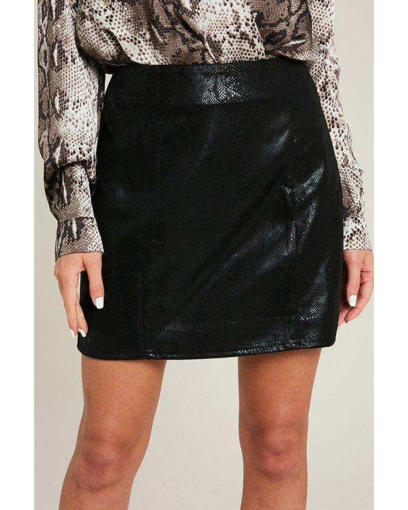 EEsome Eesome Snakeskin Black Mini Skirt
