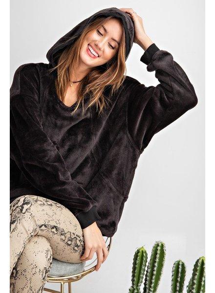 Easel Easel Black Plush Hoodie